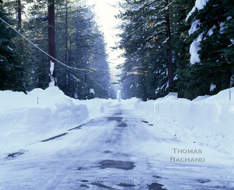 Plowed Street. Lake Tahoe.