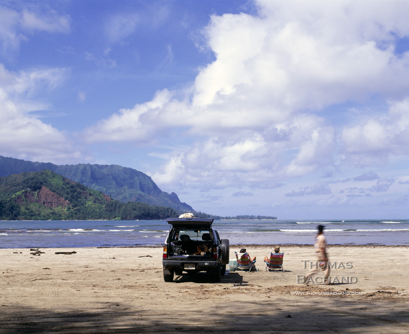 Beach-goers. Hanalei, Kauai.